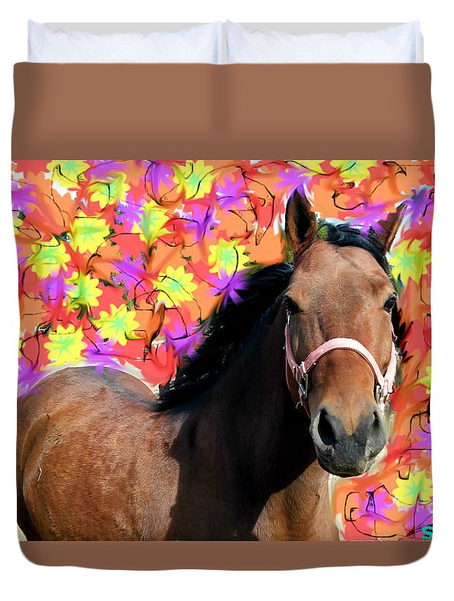 Tribal Duvet Cover featuring the photograph Horse Play by Alexander Ladd