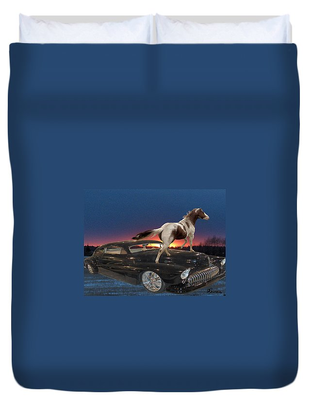 Classic Car Horse Sunset Trees Landscape Motor Chrome Sky Duvet Cover featuring the photograph Horse Power by Andrea Lawrence