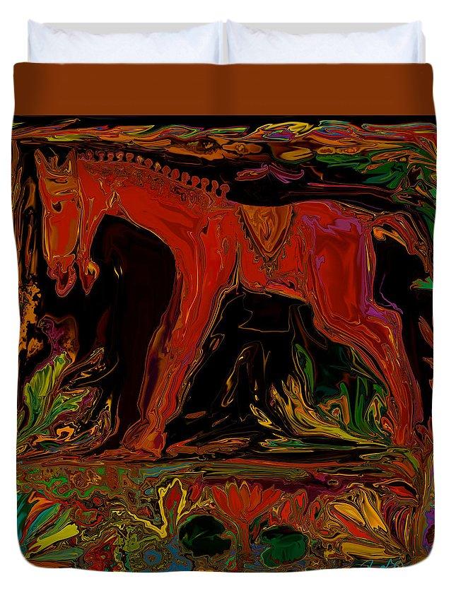 Animal Duvet Cover featuring the digital art Horse by Rabi Khan