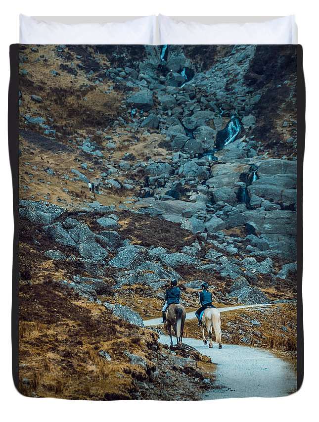 Duvet Cover featuring the photograph Horse Riders At Mahon Falls by Marc Daly