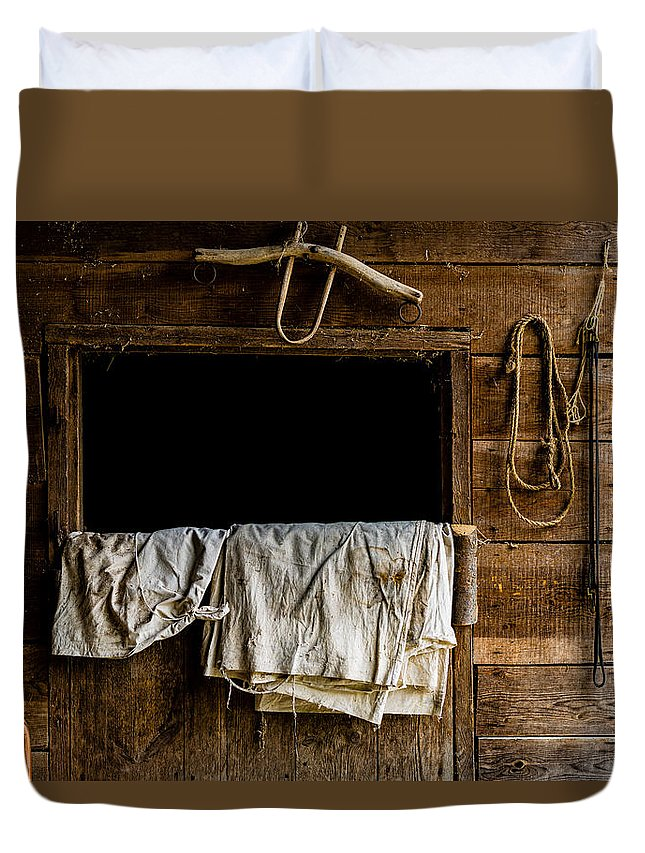 Horse Stall Duvet Cover featuring the photograph Horse Stall by M G Whittingham