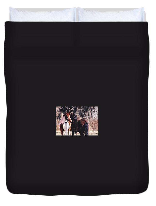 Horses Duvet Cover featuring the photograph Horse Talk by Michelle Powell