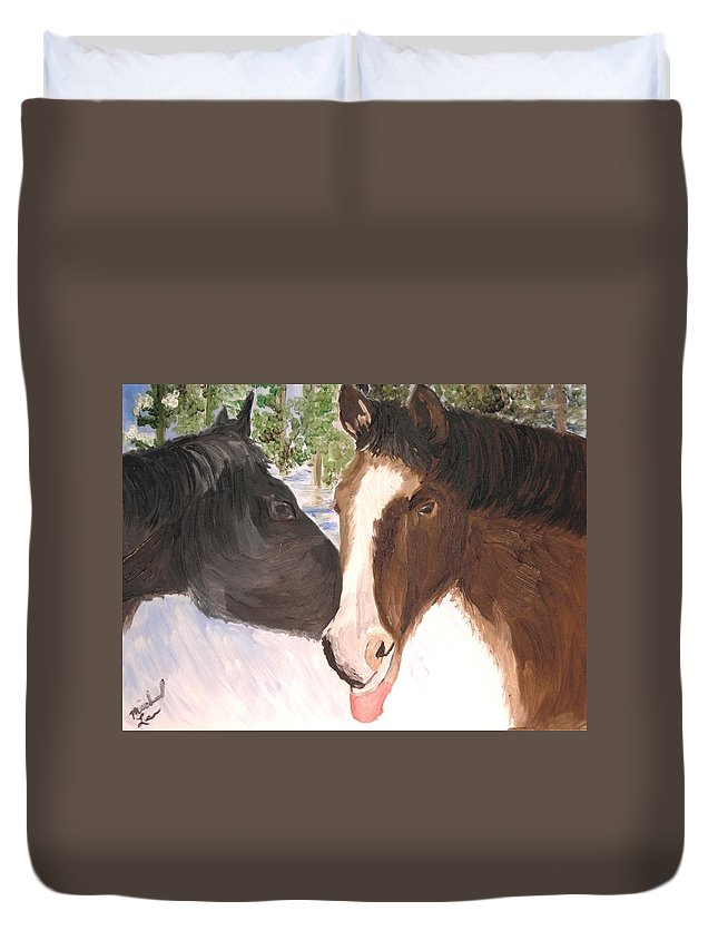 Horses Duvet Cover featuring the painting Horse Whisperer by Michael Lee