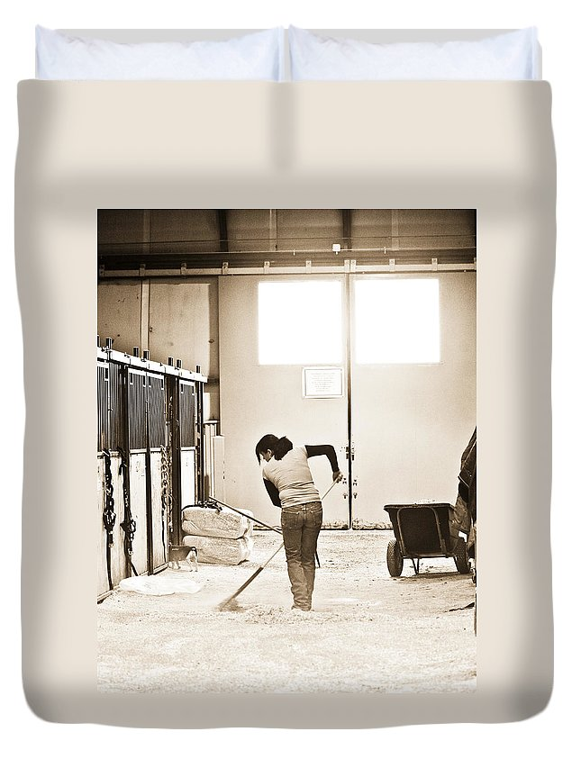 Horse Duvet Cover featuring the photograph Horse Work by Marilyn Hunt