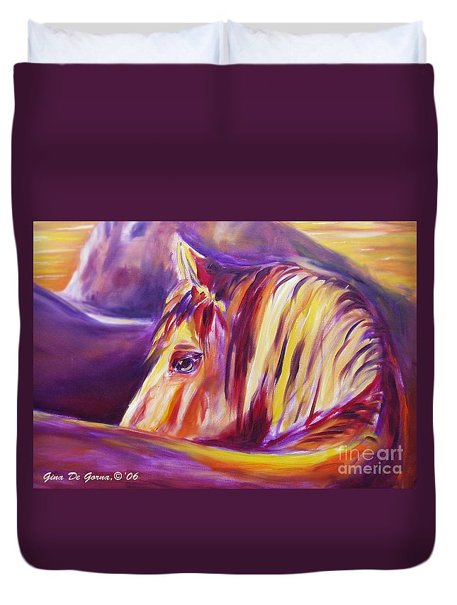 Horses Duvet Cover featuring the painting Horse World Detail by Gina De Gorna