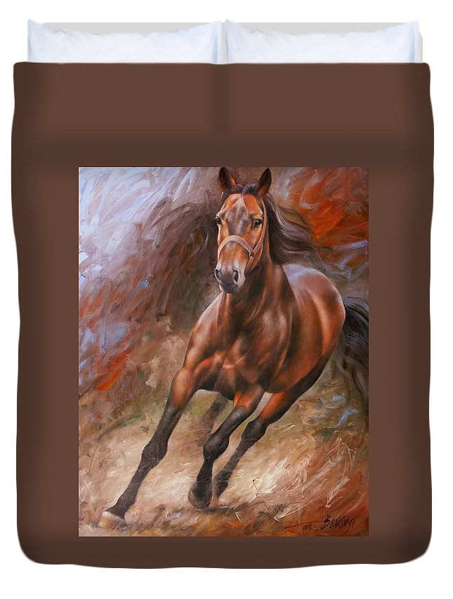 Art Duvet Cover featuring the painting Horse2 by Arthur Braginsky