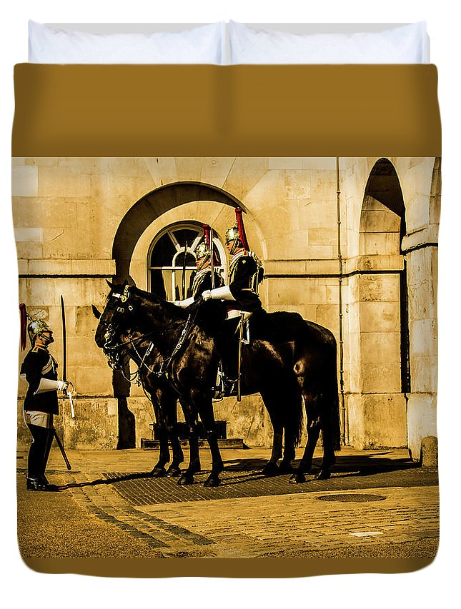 Horseguard Duvet Cover featuring the photograph Horseguards Inspection. by Nigel Dudson
