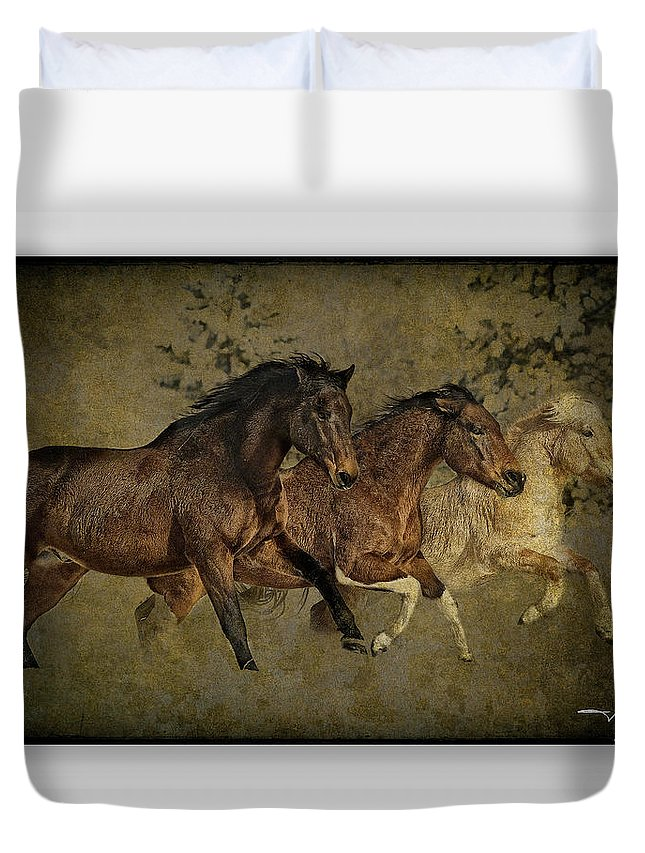 Horses Duvet Cover featuring the photograph Horses 30 by Ingrid Smith-Johnsen