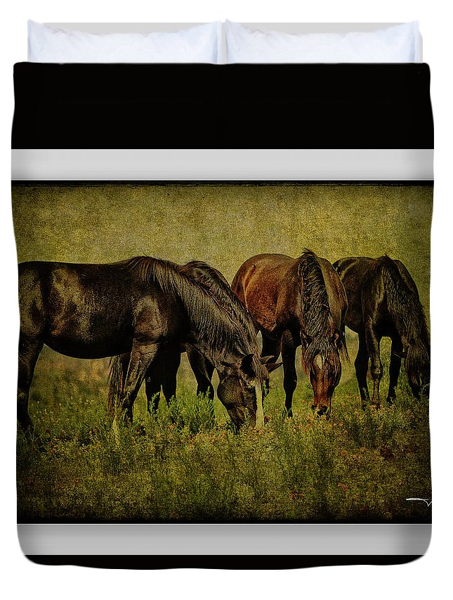 Horses Duvet Cover featuring the photograph Horses 37 by Ingrid Smith-Johnsen