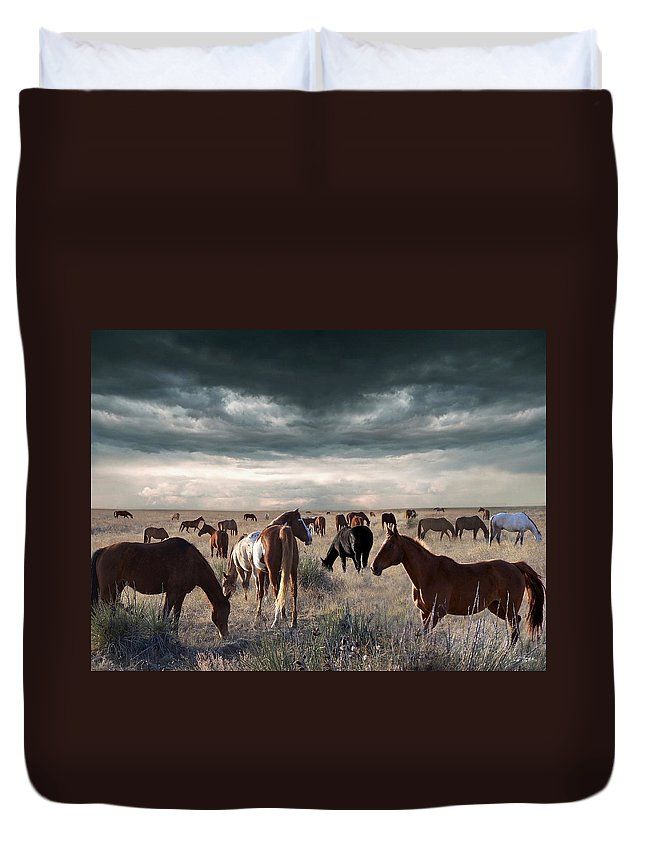 Horses Duvet Cover featuring the digital art Horses Forever by Bill Stephens