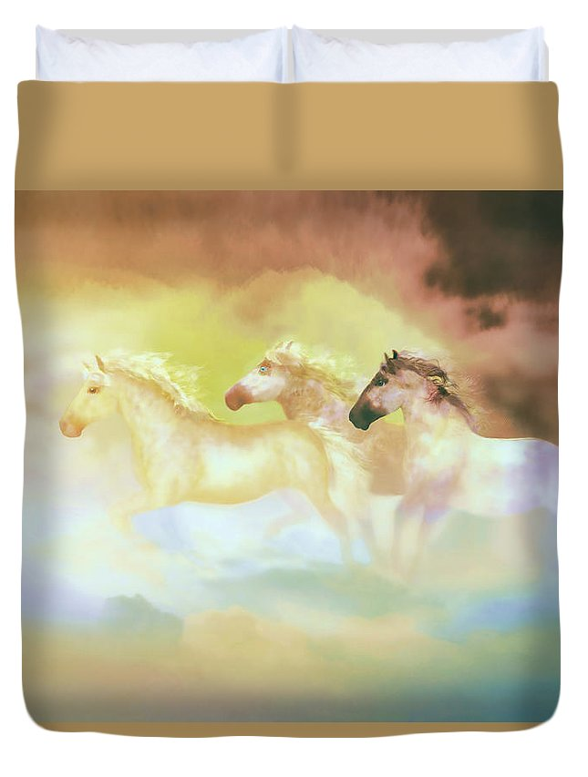 Horses Duvet Cover featuring the painting Horses In A Pearly Mist by Valerie Anne Kelly