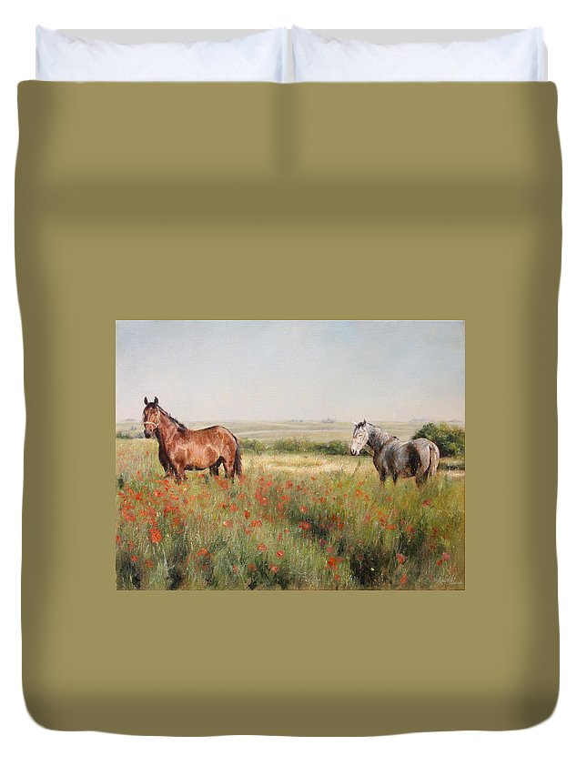 Poppy Duvet Cover featuring the painting Horses in a Poppy field by Darko Topalski