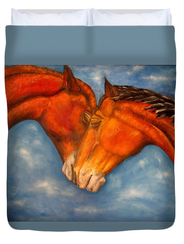Horses Duvet Cover featuring the painting Horses In Love.oil Painting by Natalja Picugina