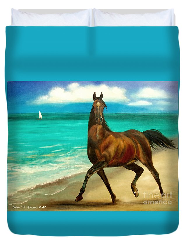 Horse Duvet Cover featuring the painting Horses In Paradise Dance by Gina De Gorna