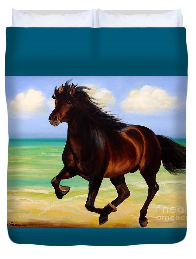 Horses Duvet Cover featuring the painting Horses In Paradise Run by Gina De Gorna