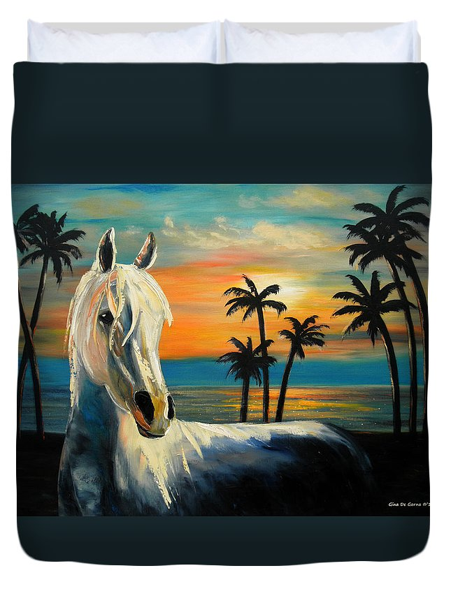 Horse Duvet Cover featuring the painting Horses In Paradise Tell Me Your Dream by Gina De Gorna