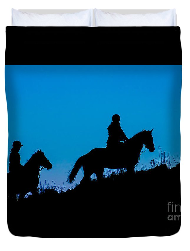 Duvet Cover featuring the photograph Horses On The Mountain by Marc Daly