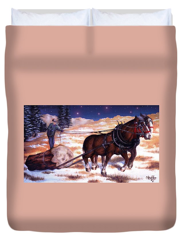 Horse Duvet Cover featuring the painting Horses Pulling Log by Curtiss Shaffer