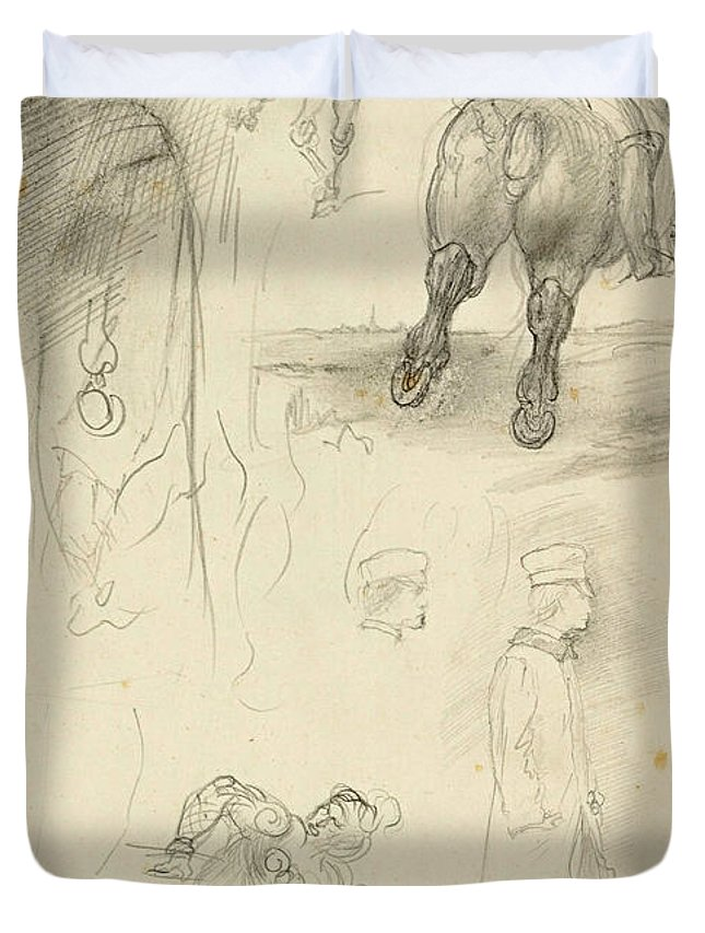 Edgar Degas Duvet Cover featuring the drawing Horses Riders And A Young Man by Edgar Degas