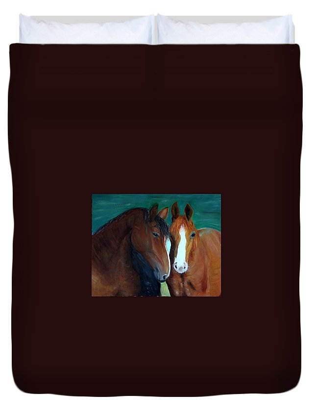 Horses Duvet Cover featuring the painting Horses by Taly Bar