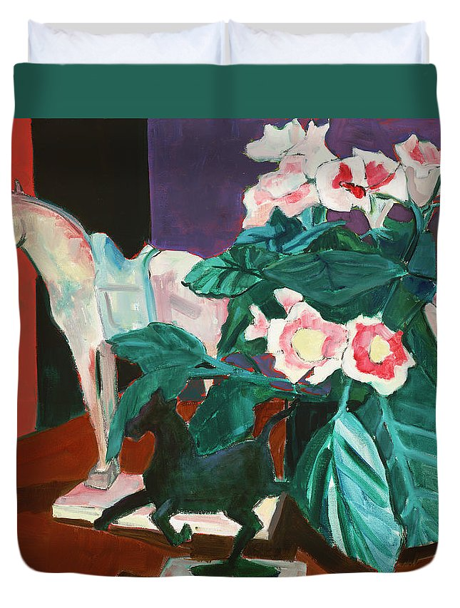 Still Life Duvet Cover featuring the painting Horses With Floral by Thomas Tribby