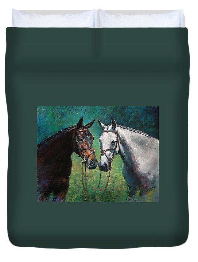 Horses Duvet Cover featuring the pastel Horses by Ylli Haruni