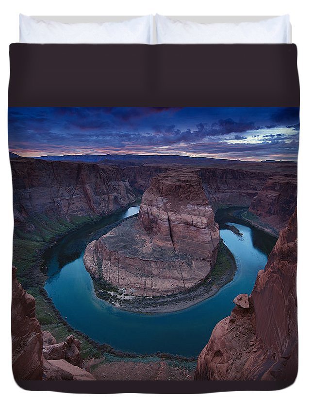 Sunset Duvet Cover featuring the photograph Horseshoe Bend Sunset by Bob Keller