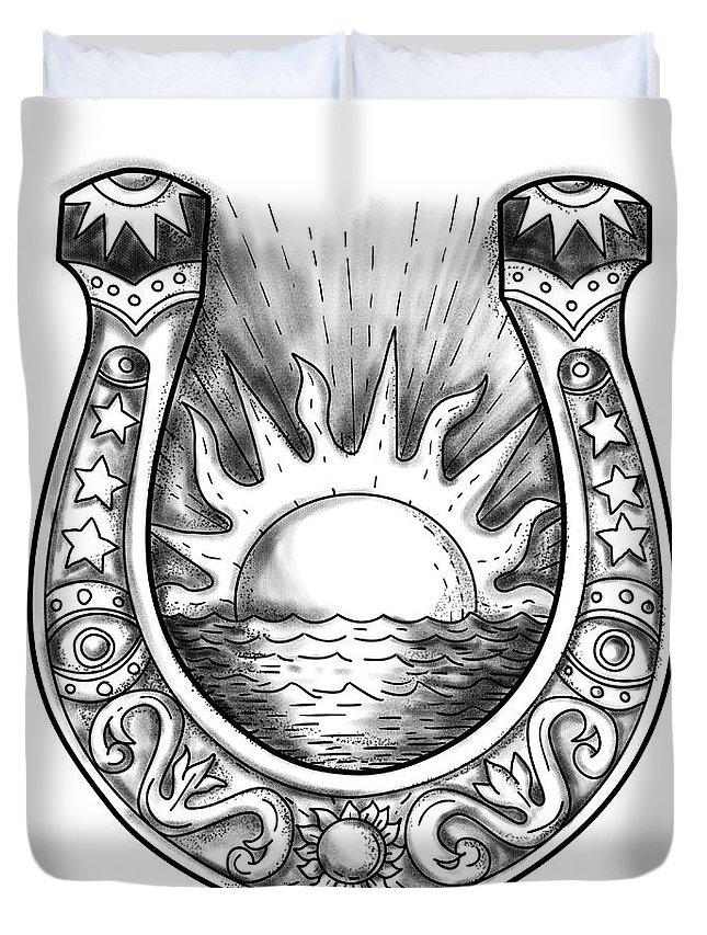 Tattoo Duvet Cover featuring the digital art Horseshoe Sun And Sea Tattoo by Aloysius Patrimonio
