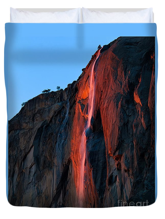 Yosemite Duvet Cover featuring the photograph Horsetail Falls 2016 by Brandon Bonafede