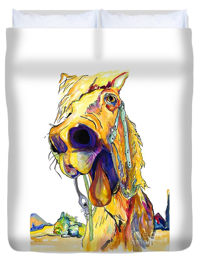 Animal Painting Duvet Cover featuring the painting Horsing Around by Pat Saunders-White