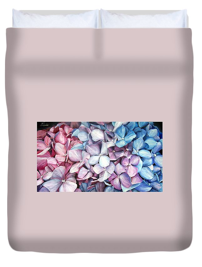 Flowers Nature Blue Violet Macro Duvet Cover featuring the painting Hortensias by Natalia Tejera