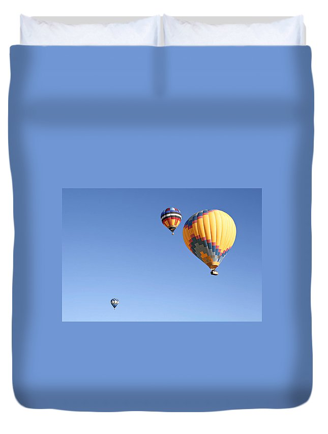 Balloons Duvet Cover featuring the photograph Hot Air Balloon Ride A Special Adventure by Christine Till