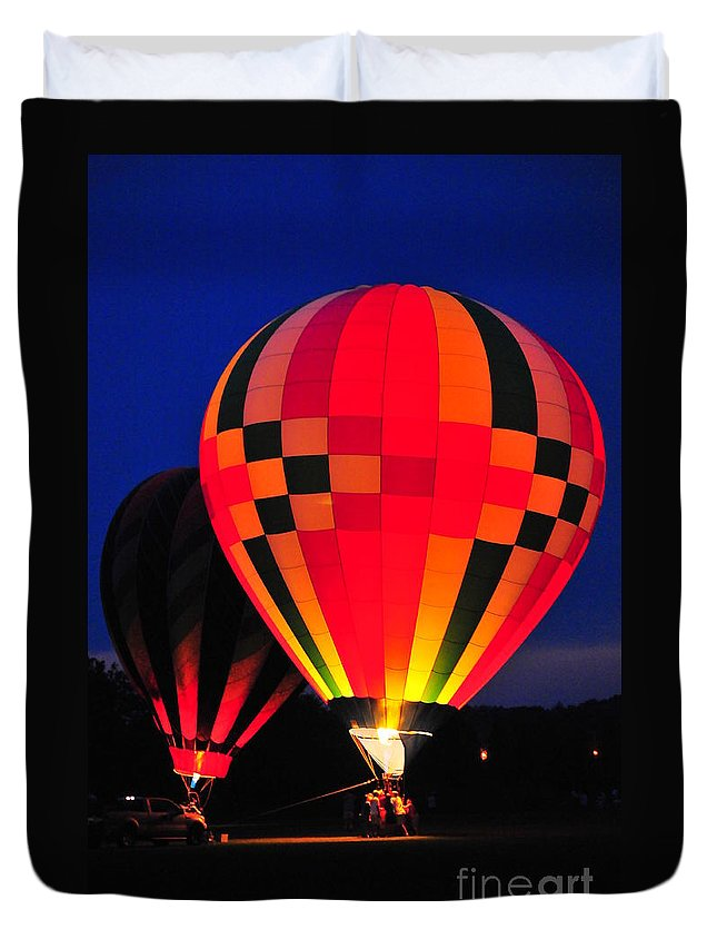 Hot Air Balloons Duvet Cover featuring the photograph Hot Air Balloons by Catherine Reusch Daley