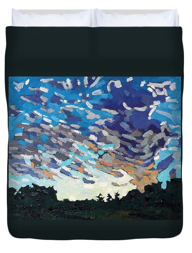 1796 Duvet Cover featuring the painting Hot August Sunrise by Phil Chadwick