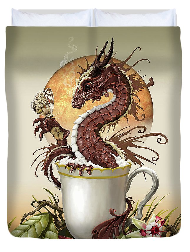 Hot Chocolate Duvet Cover featuring the digital art Hot Chocolate Dragon by Stanley Morrison