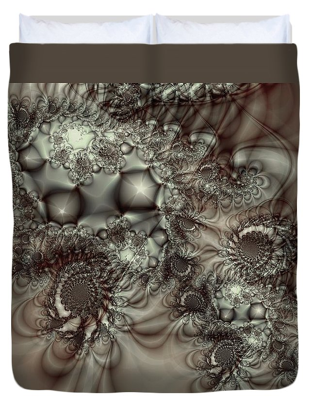 Green Duvet Cover featuring the digital art Hot Chocolate Possibilities by Casey Kotas
