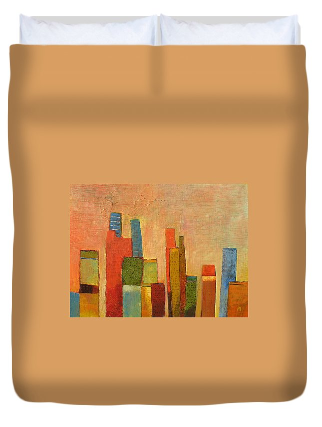 Abstract Cityscape Duvet Cover featuring the painting Hot Manhattan by Habib Ayat