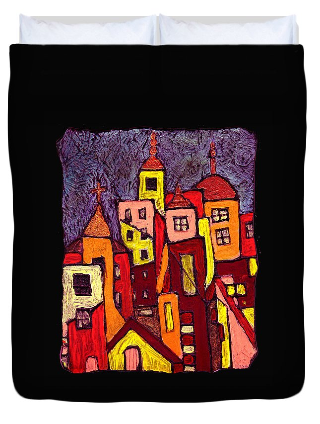 City Scapes Duvet Cover featuring the painting Hot Night In The City by Wayne Potrafka