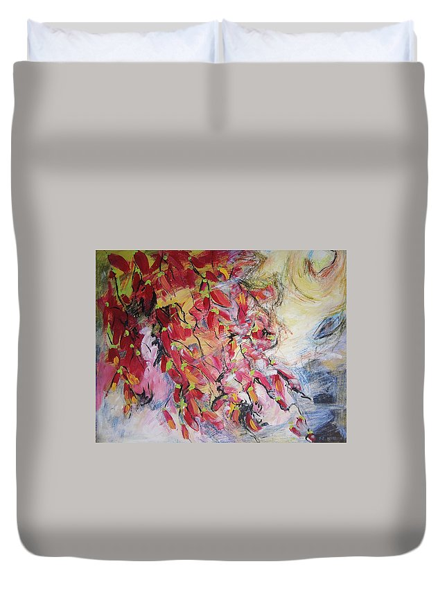 Hot Pepper Painting Duvet Cover featuring the painting Hot Pepper Drying by Seon-Jeong Kim