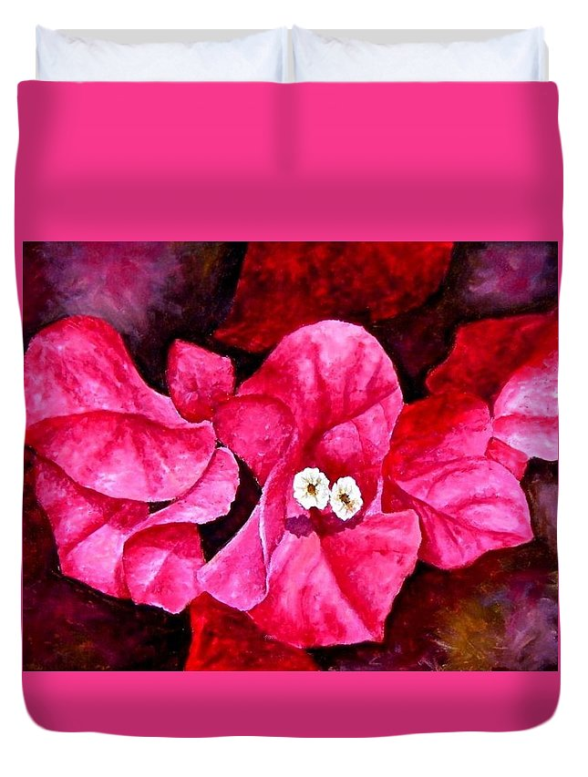 Oil Duvet Cover featuring the painting Hot Pink Bougainvillea by Darla Brock