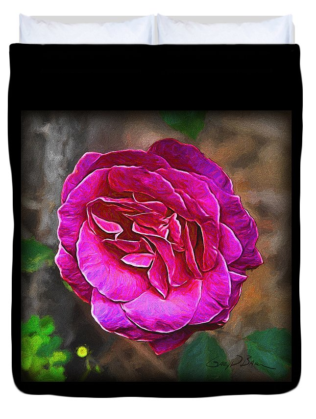 Flower Duvet Cover featuring the painting Hot Pink by Gary D Baker