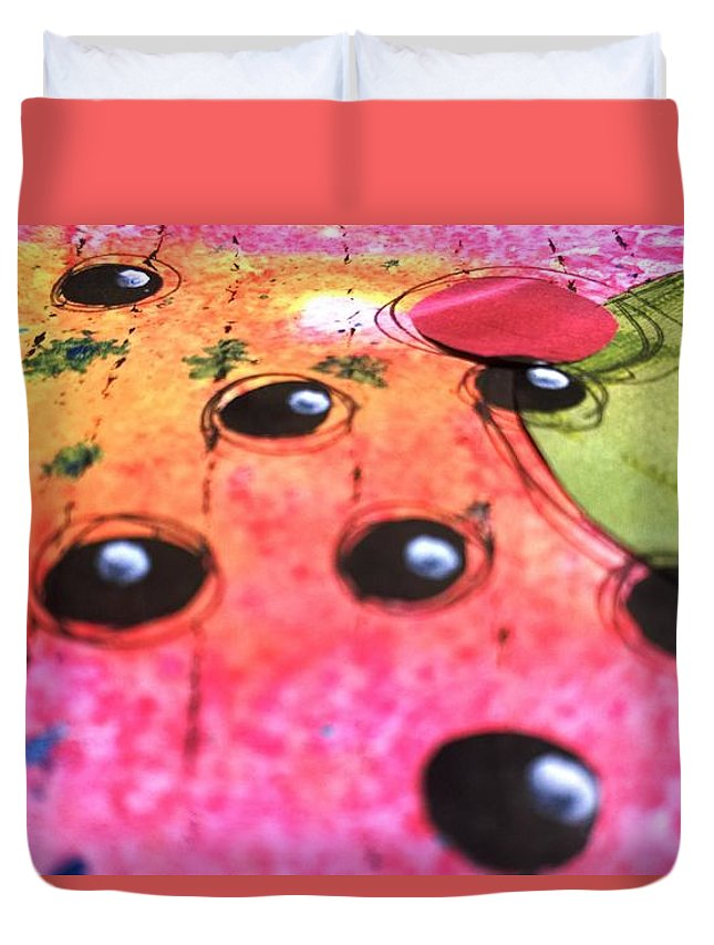 Hot Duvet Cover featuring the mixed media Hot Pink by Kras Arts
