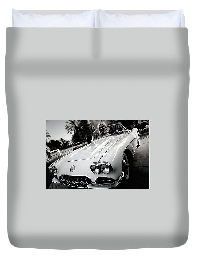 Black And White Duvet Cover featuring the photograph Hot Rod Black And White by Jesse Sanchez