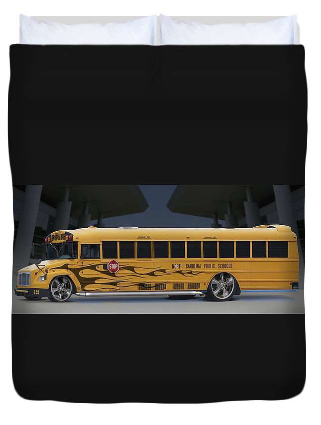 Hot Rod Duvet Cover featuring the photograph Hot Rod School Bus by Mike McGlothlen