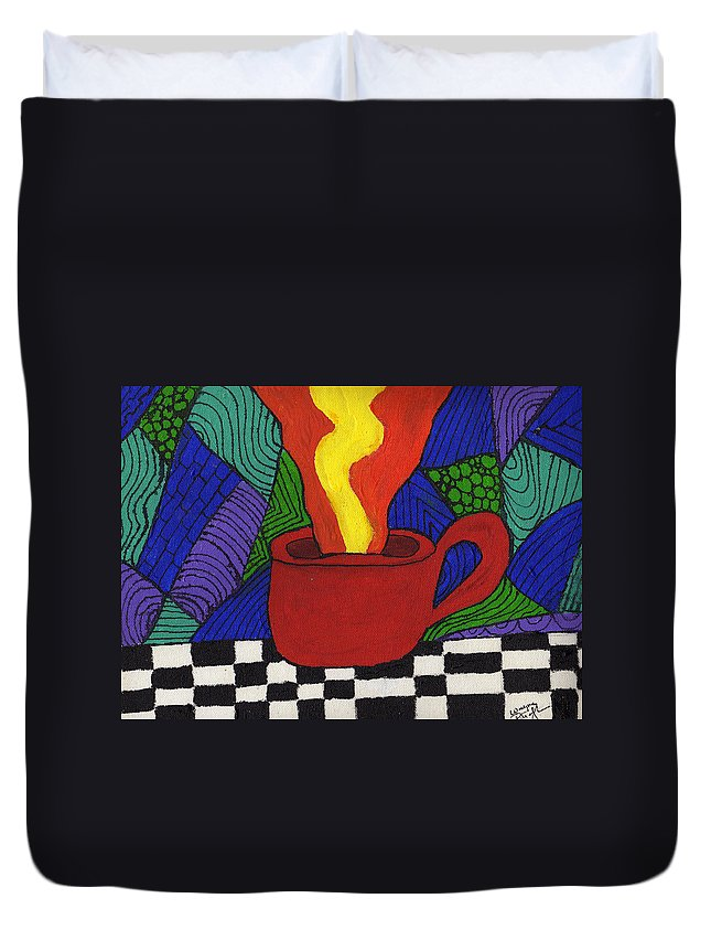 Tea Duvet Cover featuring the painting Hot Spot Of T by Wayne Potrafka