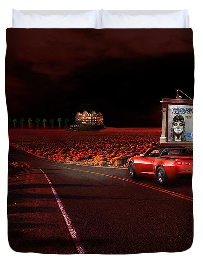 Hotel Duvet Cover featuring the painting Hotel California by Michael Cleere