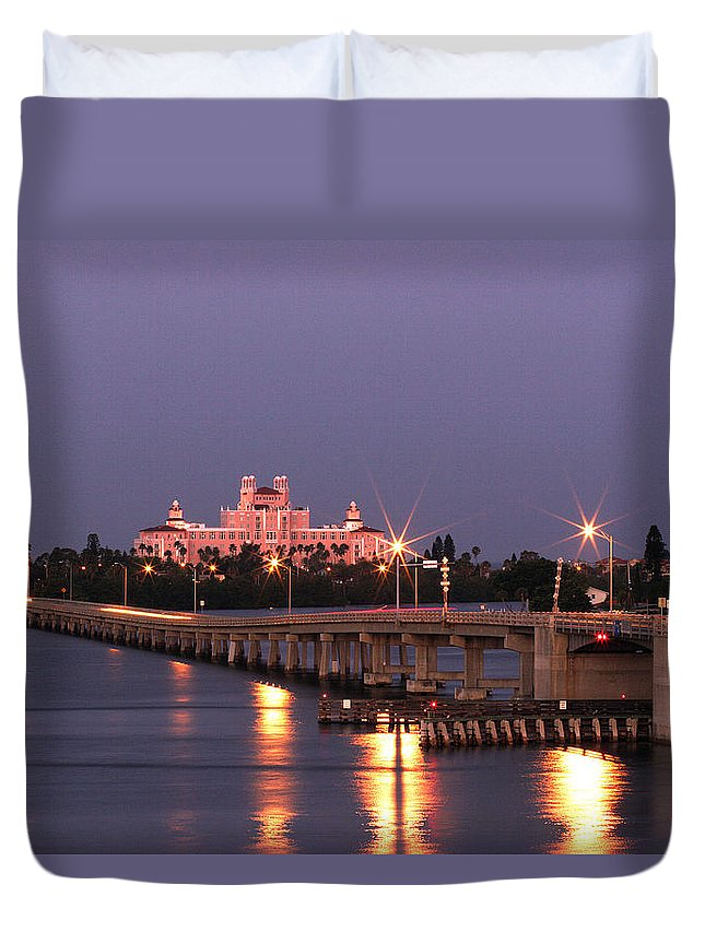 Don Cesar Duvet Cover featuring the photograph Hotel Don Cesar The Pink Palace St Petes Beach Florida by Mal Bray