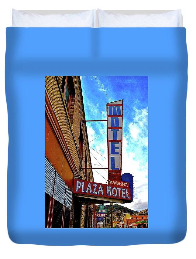 Hotel Duvet Cover featuring the photograph Hotel Motel by Jamie Clark