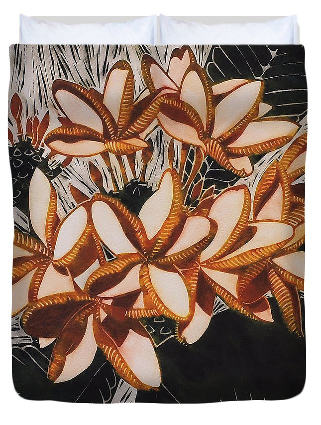 Hot Duvet Cover featuring the painting Hothouse Flowers by Susan Lishman