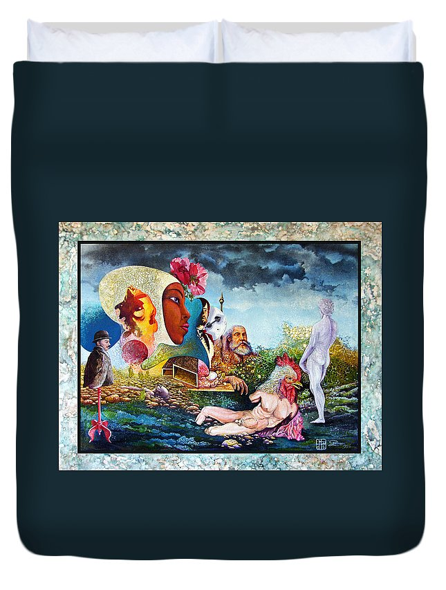 Surrealism Duvet Cover featuring the mixed media Hour Of The Cock by Otto Rapp